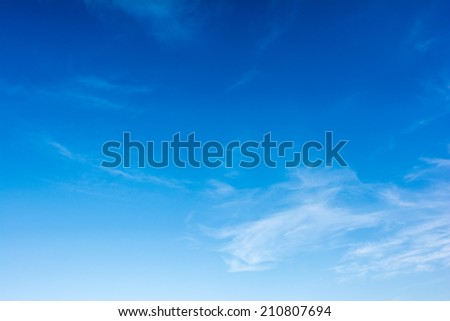 Summer Blue Sky With Soft White Clouds - stock photo