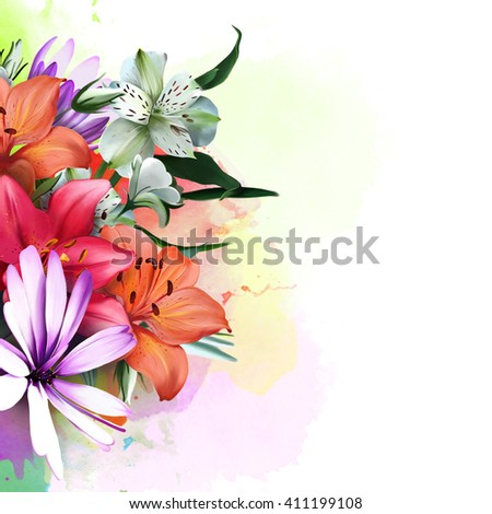 summer bouquet in bright watercolor blots on a white background - stock photo