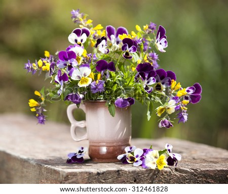 Summer bouquet of flowers pansies - stock photo