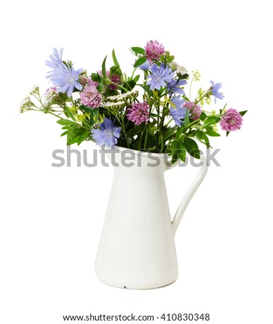 Summer bouquet of Meadow flowers isolated on white