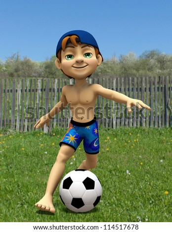 summer boy playing football - stock photo