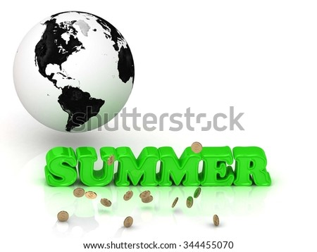 SUMMER- bright color letters, black and white Earth on a white background
