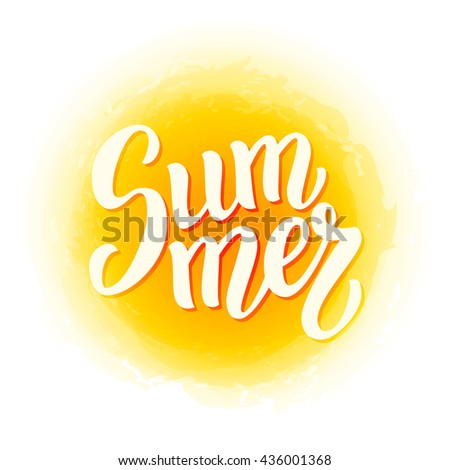 "Summer brush lettering text.Hand written word ""Summer"". For posters, t shirts, prints, bags, pillows, home decorations. Raster copy"