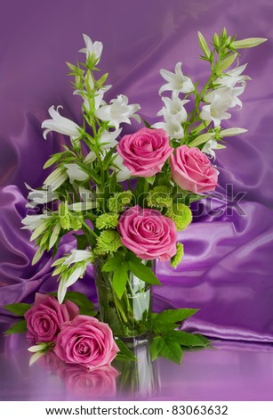 Summer bunch of flowers in a vase - stock photo