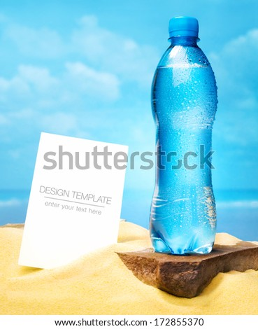 Summer Business template. Bottle of water - stock photo
