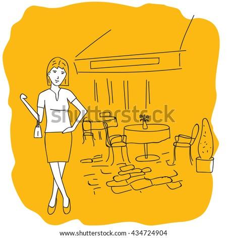 Summer cafe. Girl with a handbag near the cafe. - stock photo