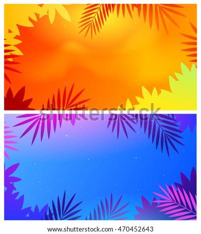 Summer Camp Background Poster With Red Palm Leaf Design For Print Or Web Banner Frame