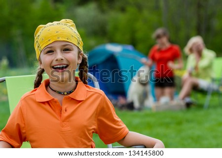 Summer camp, summer vacation - family on summer camp. Family adventure concept. - stock photo