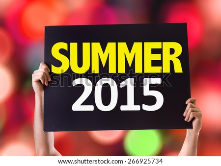 Summer 2015 card with bokeh background - stock photo