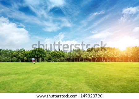 Summer city park and visitors - stock photo