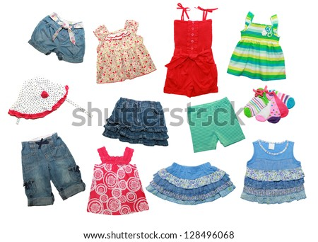 summer clothes for a little girl  isolated on white - stock photo