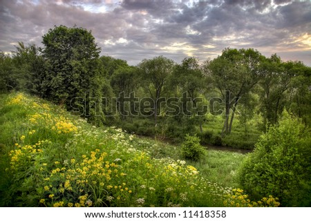 Summer cloudly sunrise - stock photo
