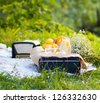 Summer cocktail with lemons served in the garden - stock photo