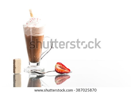 summer cold caffe shake with fruits decorated on bright background - stock photo