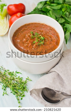 summer cold tomato soup with fennel - stock photo