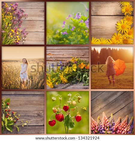 summer collage - stock photo