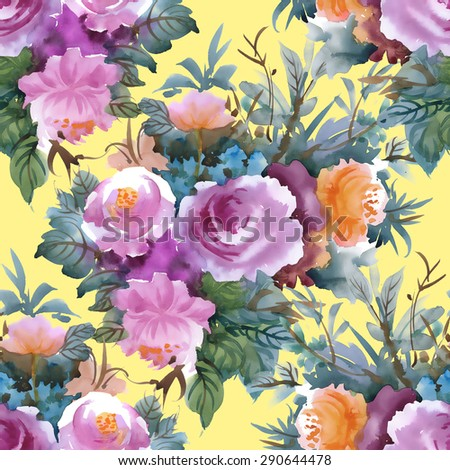 Summer Colorful roses floral watercolor Seamless pattern on yellow background - stock photo