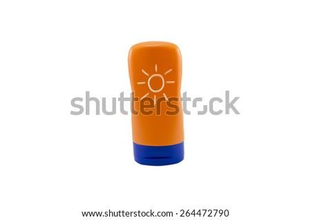 Summer concept : Beach items - Bottle sunblock cream isolated on white background - stock photo