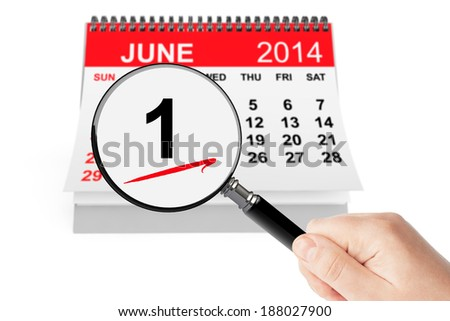 Summer Concept. 1 june 2014 calendar with magnifier on a white background - stock photo