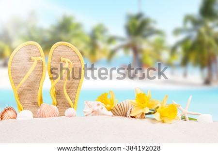 Summer concept of sandy beach, flip flops and starfish. - stock photo