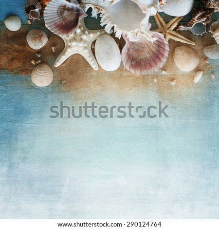 Summer concept with beach accessories - stock photo