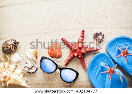 Summer concept with beach accessories