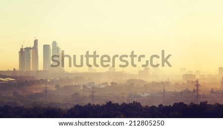 summer dawn and the view of the skyscrapers of Moscow City  - stock photo
