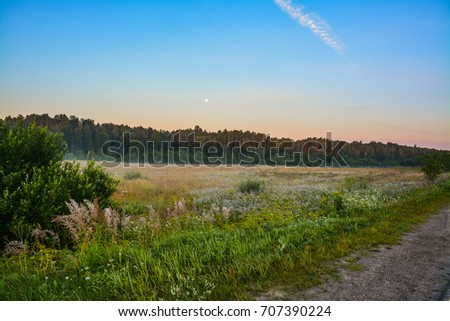 Summer dawn in the countryside