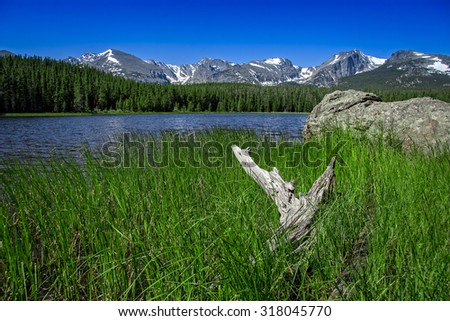 Summer Day at Bierstadt Lake, Rocky Mountain National Park, Colorado, USA. - stock photo