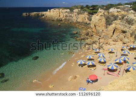 Summer day at Castelo beach, Albufeira, Algarve, Portugal - stock photo