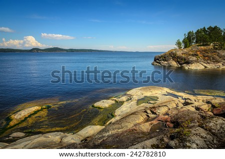 summer day at the lake in stone shores - stock photo