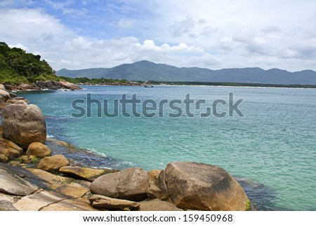Summer day in florianopolis beach in Brazil. - stock photo