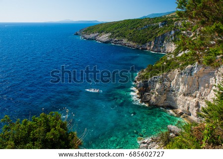Summer Day on Sea Travel Time Vocation. View  seashore from water sea. Beautiful water landscape