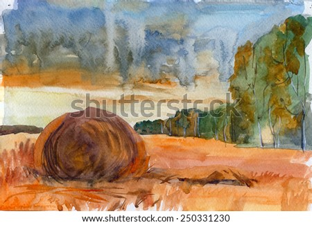 Summer day, stacks on field. Watercolor rural landscape - stock photo