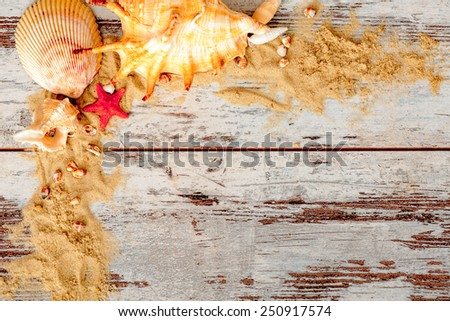 Summer days. Marine frame in summer vacation concept with sand and seashells with sunny sky reflection placed on wooden surface - stock photo