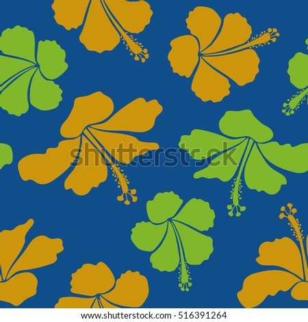 Summer design. Flower concept. Seamless floral pattern can be used for wallpaper, website background, wrapping paper. Natural yellow, green and blue hibiscus seamless pattern.