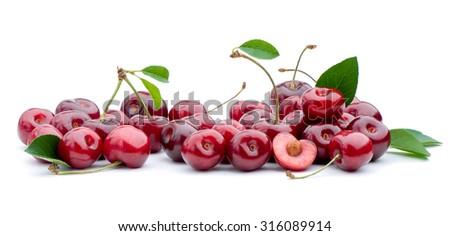 Summer dessert .Fresh sweet cherry. - stock photo