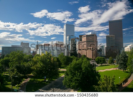 Summer Downtown Denver Skyline With Blue Sky - stock photo