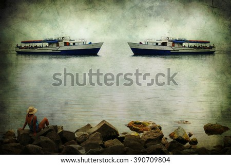 Summer dreams. Woman on coastal rocks looking at the ships in the evening sea. Surrealism. Old postcard, design in grunge and retro style. - stock photo