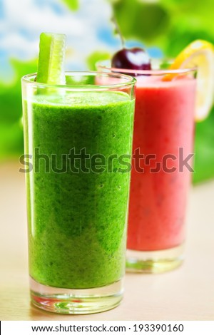 Summer drink, smoothie shakes, outdoor