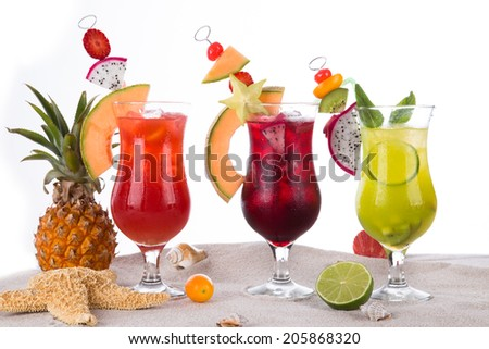 Summer drinks with beach on background