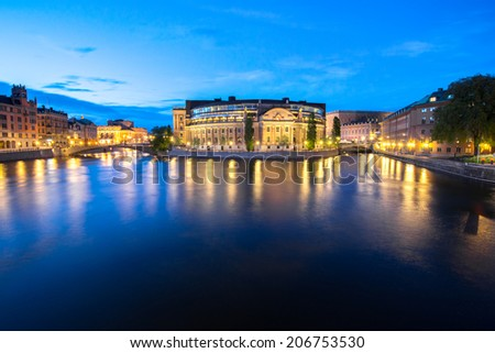Summer evening panorama of the Old Town (Gamla Stan) in Stockholm, Sweden - stock photo