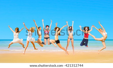 Summer Exercise Active Girls  - stock photo
