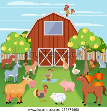 Summer farm with wooden house and domestic animals  illustration