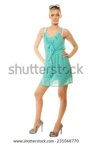 Summer fashion. Full length pretty young woman sensual girl in green blue elegant dress isolated on white