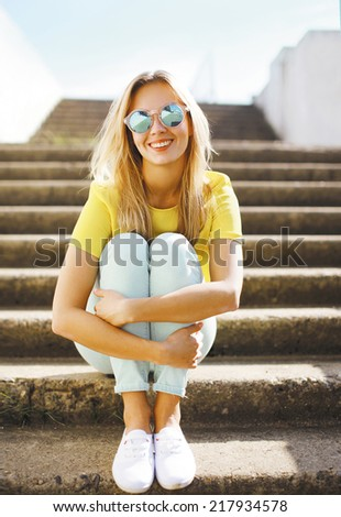 Summer fashion portrait pretty girl in sunglasses posing in urban style, street fashion - stock photo