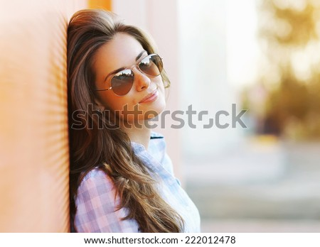 Summer fashion portrait pretty sensual woman in sunglasses posing in the city, street fashion - stock photo