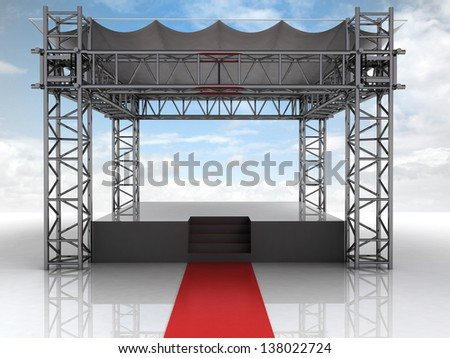 summer festival open air stage with red carpet illustration - stock photo