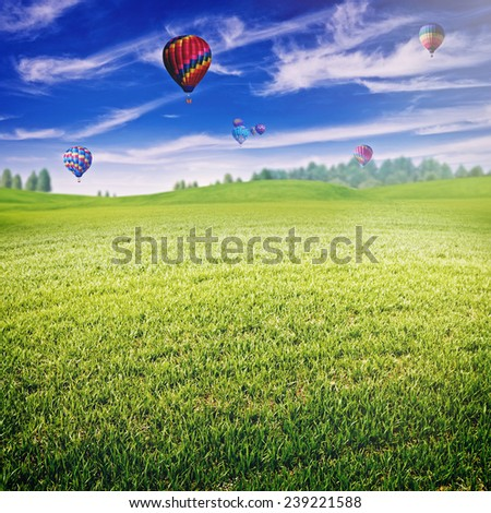 Summer field with lot of air balloons over horizon, abstract landscape - stock photo