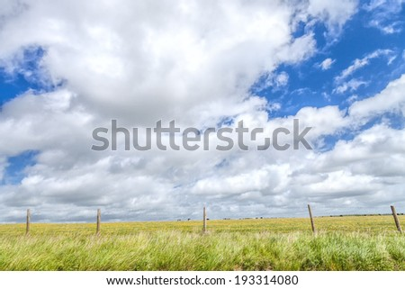 Summer fields and cloudscape in Kent region in Southern England